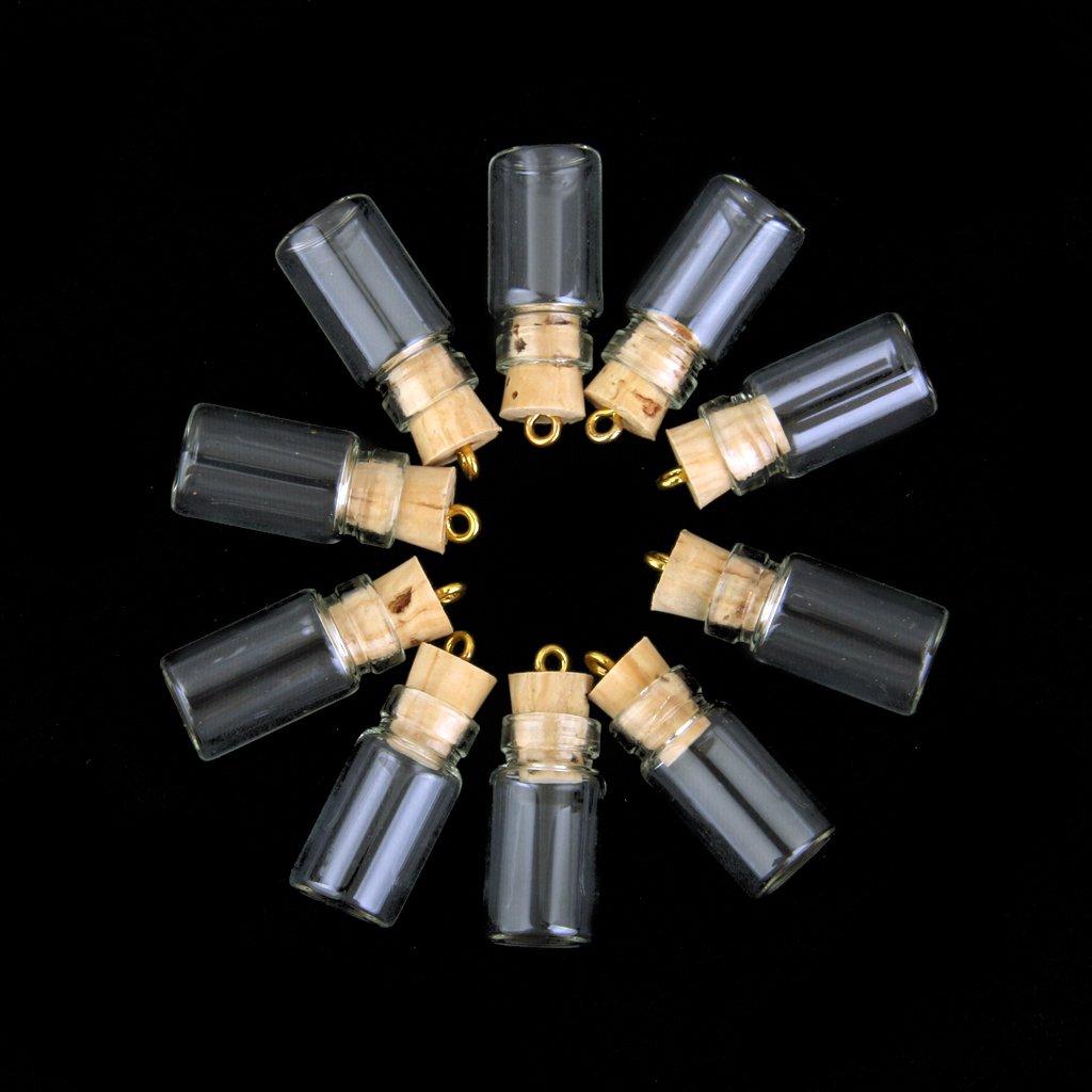 10pcs Los Mini Encantos Vaso Vacio Botellas De Corcho Colgante Viales Desean Botellas Transparentes