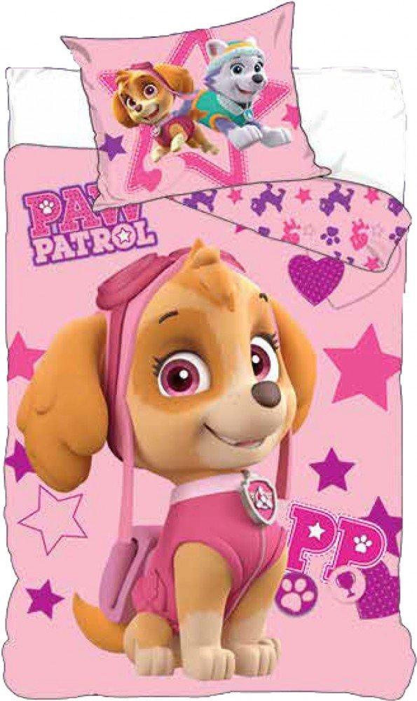 Parure de lit Pat Patrouille Rose 100 % cotton - Housse de couette 90X140 cm Taie 40x55 cm Nickelodeon
