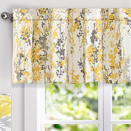DriftAway Leah Abstract Floral Blossom Ink Painting Window Curtain Valance (Yellow/Silver/Gray, 52