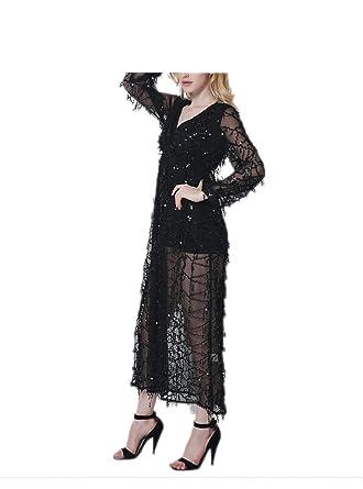 Paule Trevelyan NEW mulheres primavera elegante vestido de lantejoulas profundo decote em v sexy longo vestido