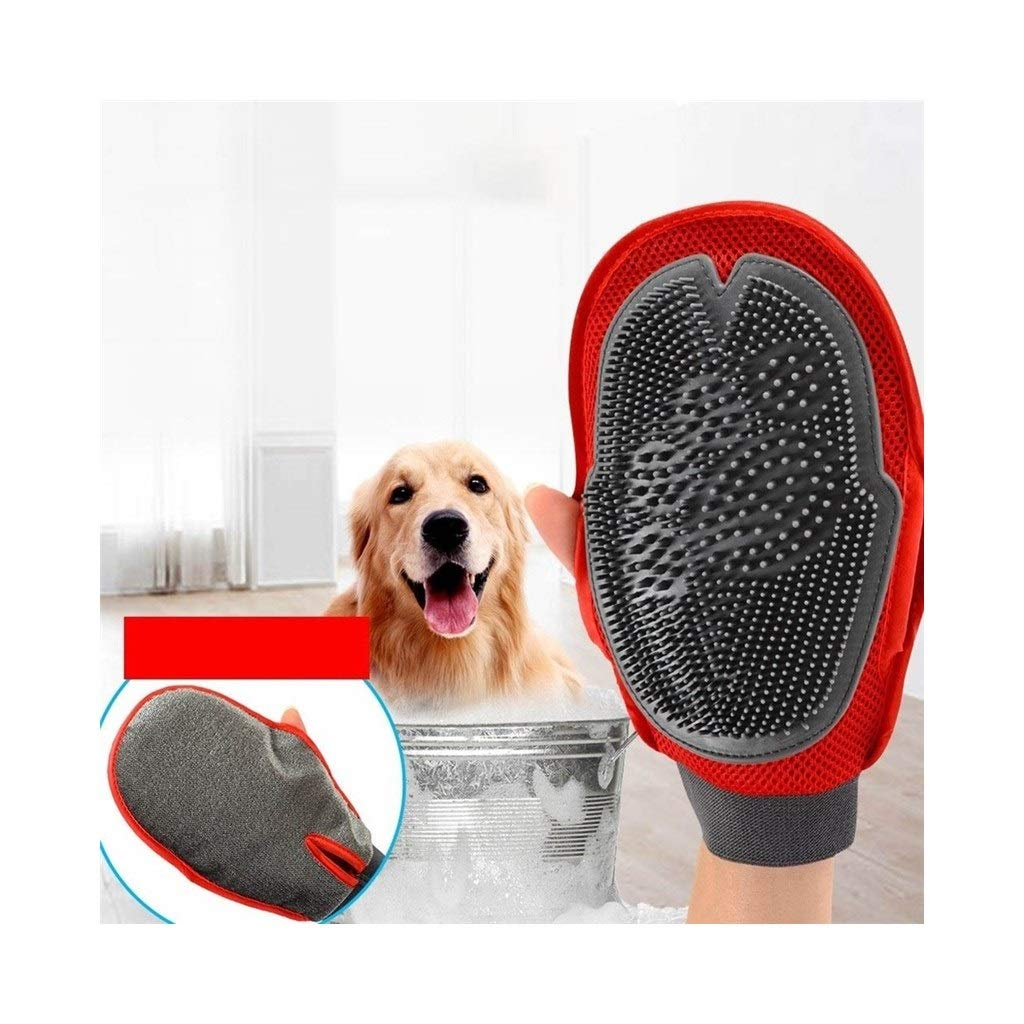 NICOLAS Dog Bathing Artifact Cat Bathing Massage Gloves Pet Brush Teddy Golden Hair Samoyed Large Dog Supplies (Color : Black red)
