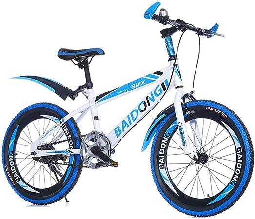 Jiamuxiangsi Niños Bici de montaña 20 Pulgadas Marco de Acero al Carbono Camino de la Bicicleta Apto for niños de 8-15 Bicicleta Bebe (Color : Azul): Amazon.es: Hogar