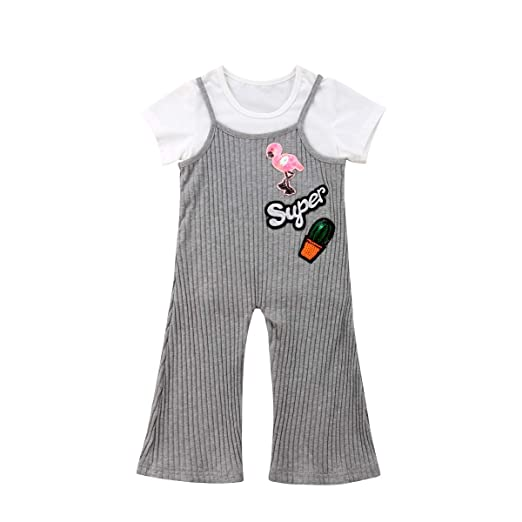 b880aac42d978 Amazon.com  Mubineo Toddler Baby Girl Plain T Shirts Knit Bell Bottom  Overalls Pants Outfits Clothes  Clothing