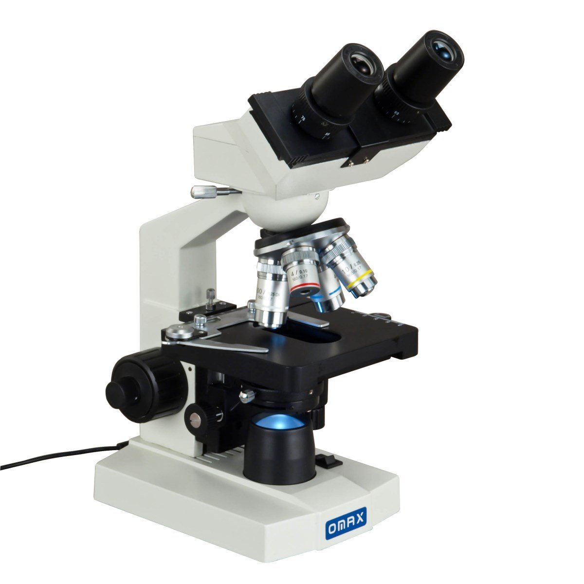 OMAX 40X-2500X Lab Binocular Biological Compound LED Microscope with 3D Mechanical Stage and Coaxial Coarse/Fine Focusing Knob by OMAX