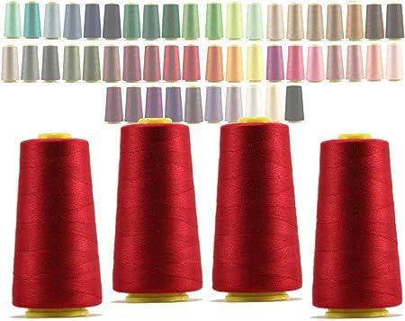 40S//2 4600 Yardas Duradero Brown 4 Conos de Hilos Overlock 100/% Poli/éster para Coser a M/áquina y Remallar Hilo Para Remalladora Resistente Colores Brillantes de M/áxima Calidad