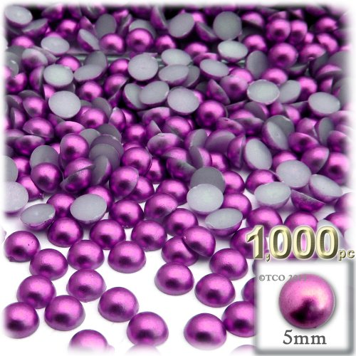 The Crafts Outlet 1000-Piece Pearl Finish Half Dome Round Beads, 5mm, Fuchsia Pink