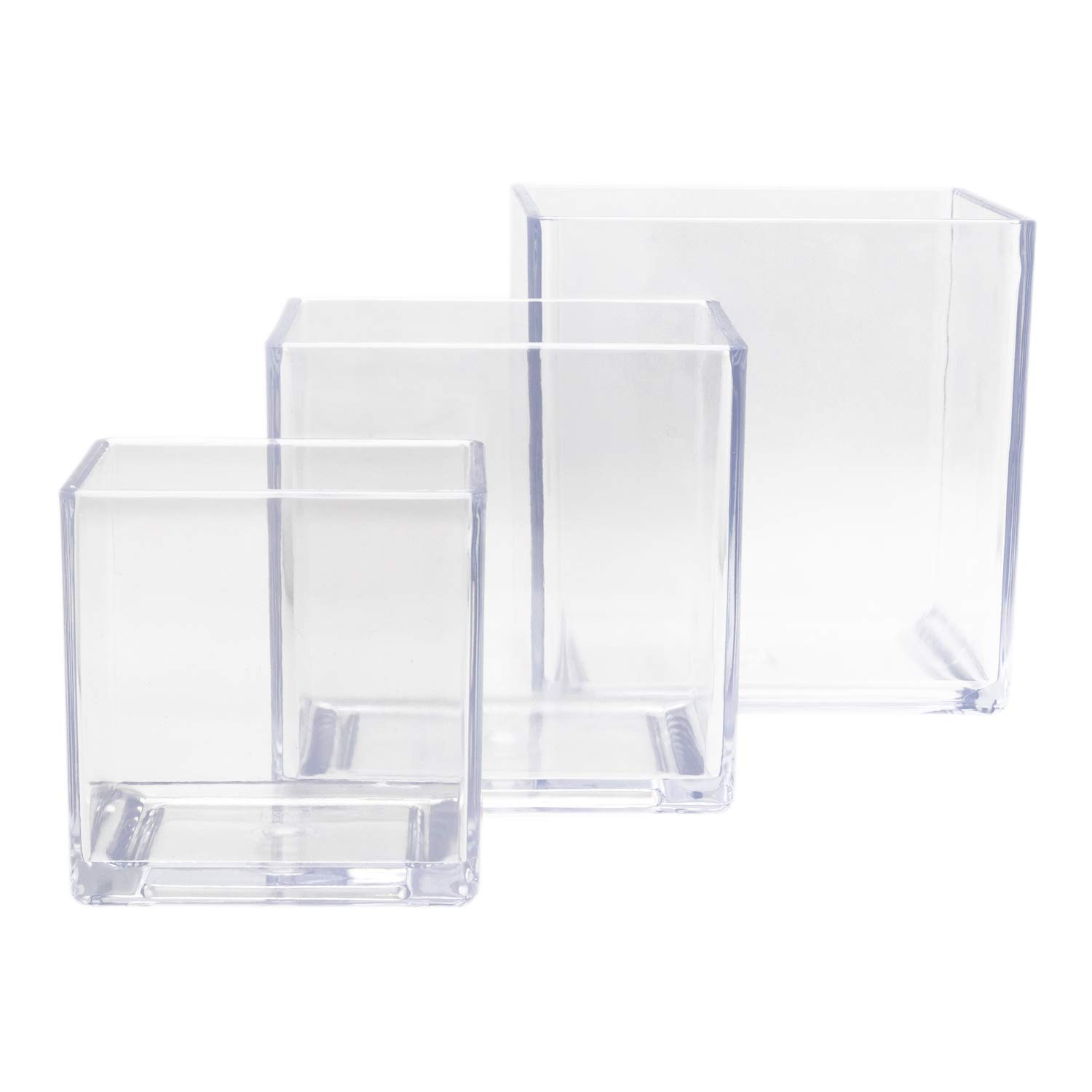 """Royal Imports Flower Acrylic Vases Cubes - Decorative Centerpiece for Home or Wedding - Non Breakable Plastic - 4"""", 5"""", 6"""" Set of 3 - Clear"""