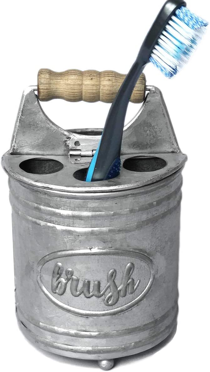 Autumn Alley Rustic Galvanized Hinged Toothbrush Holder | Adds Organization and Farmhouse Charm to Your Rustic Bathroom | Farmhouse Bathroom Accessories(Galvanized Grey)