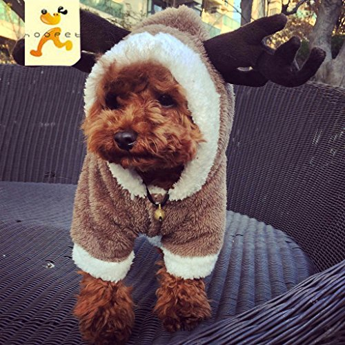 Ollypet Dog Cat Christmas Costume Deer Hoodie Cute Funny Clothes Design For Small Pets (Deer Costume For Dog)