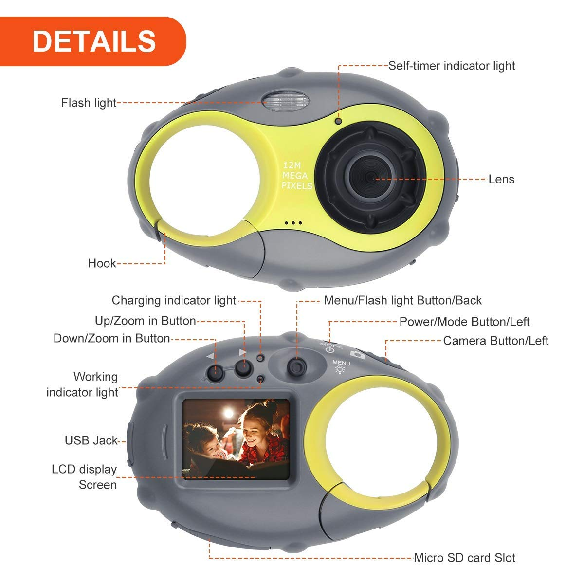 Kids Camera, Digital Camera for Children, 12MP HD Kids Video Camera with 1.5 Inch LCD Screen, 4x Digital Zoom, Flash Light, Rechargeable Battery and 8GB SD Card, Best Holiday Gift for Boys and Girls by LDF (Image #6)