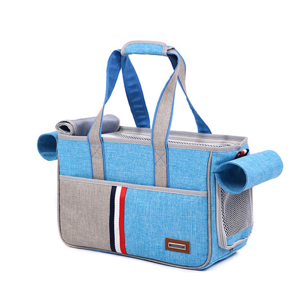Lightbluee Large lightbluee Large Portable Pet Carrier Soft Sided Travel Dog Carrier by Ventilated Breathable Comfortable Design with Safety Features Ideal for Small to Medium Sized Pet. Cacoffay