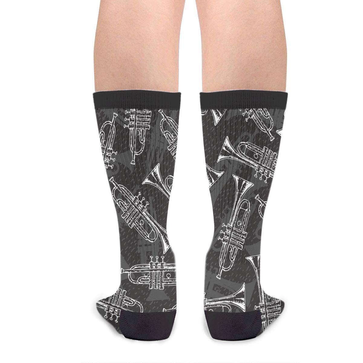 Womens 50 Full Print Stockings Painting Saxophone Knee High Crew Socks