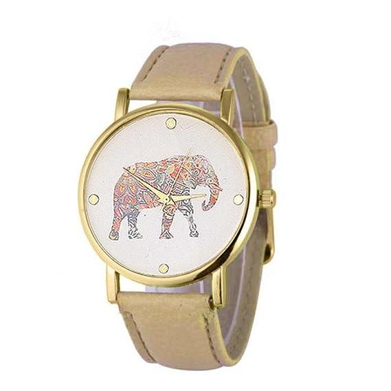Sunn ywill Mujeres Chica Mujer Bonita Mode elefante Imprimir costura tejida cuero PU cuarzo esfera reloj para estudiantes femenina: Amazon.es: Relojes