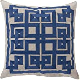1 Piece 22x22 Navy Blue Patchwork Theme Throw Pillow, Geometric Embroidered Medallion Pattern Pillows, Ikat Jacquard Square Shape Vibrant Color Cushion Headrest Couch Sofa Vintage Style, Polyester