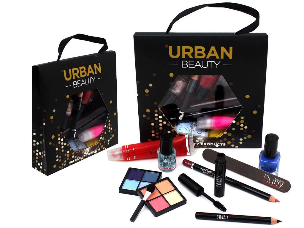 FiNeWaY@ Urban Beauty Make Up Set Vanity Case Box Beauty Cosmetic Eyeshadow Blusher Lipstick Bag Gift (58PC MAKE UP SET)