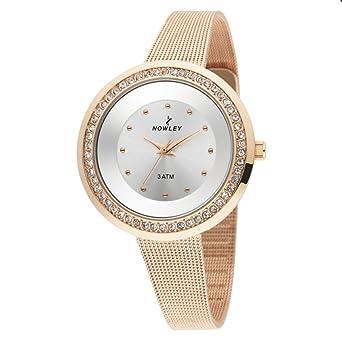 Reloj Nowley analógico de metal chapado rosa con circonitas.: Amazon.es: Relojes