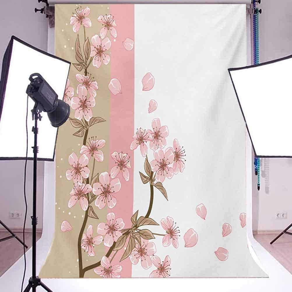 Japanese 10x12 FT Photography Backdrop Romantic Sakura Blooms Flowers Petals Spring Wind Nature Theme Background for Photography Kids Adult Photo Booth Video Shoot Vinyl Studio Props