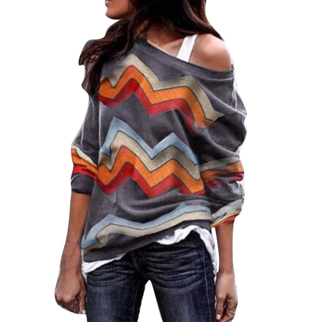 Fantaisiez Sweatshirt Femmes Imprim/é Blouse /Épaules D/énud/ées Col Oblique Pullovers Manche Longue Pulls D/écontract/ée Blazers Automne Printemps Tops