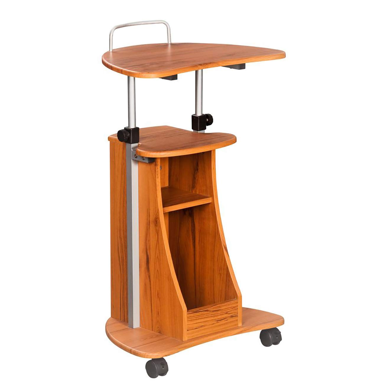 Adjustable Height Laptop Cart With Storage. Color: Woodgrain by Techni Mobili