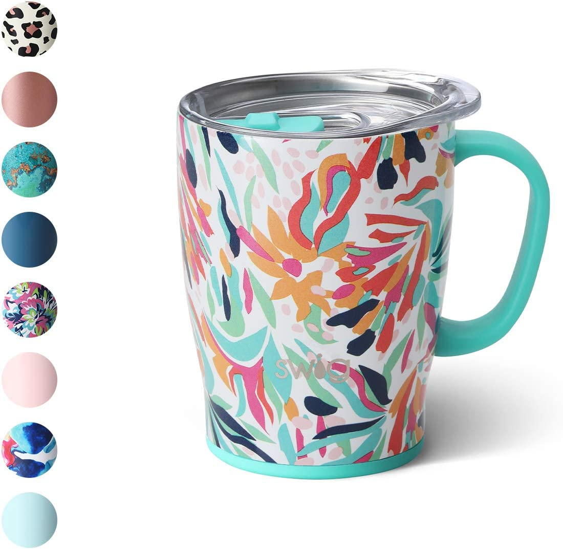 Swig Life 18oz Triple Insulated Travel Mug with Handle and Lid, Dishwasher Safe, Double Wall, and Vacuum Sealed Stainless Steel Coffee Mug in Wild Flower Print (Multiple Patterns Available)