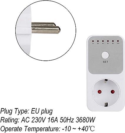 Mini LED 230V 16A 1h-10h Temporizador de cuenta regresiva Interruptor Socket Outlet Control de tiempo de enchufe para la cocina Aparato el/éctrico Enchufe de la UE