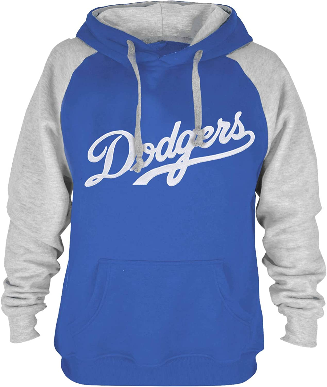 iz Mens Athletic Baseball Dodgers Pullover Hoodie