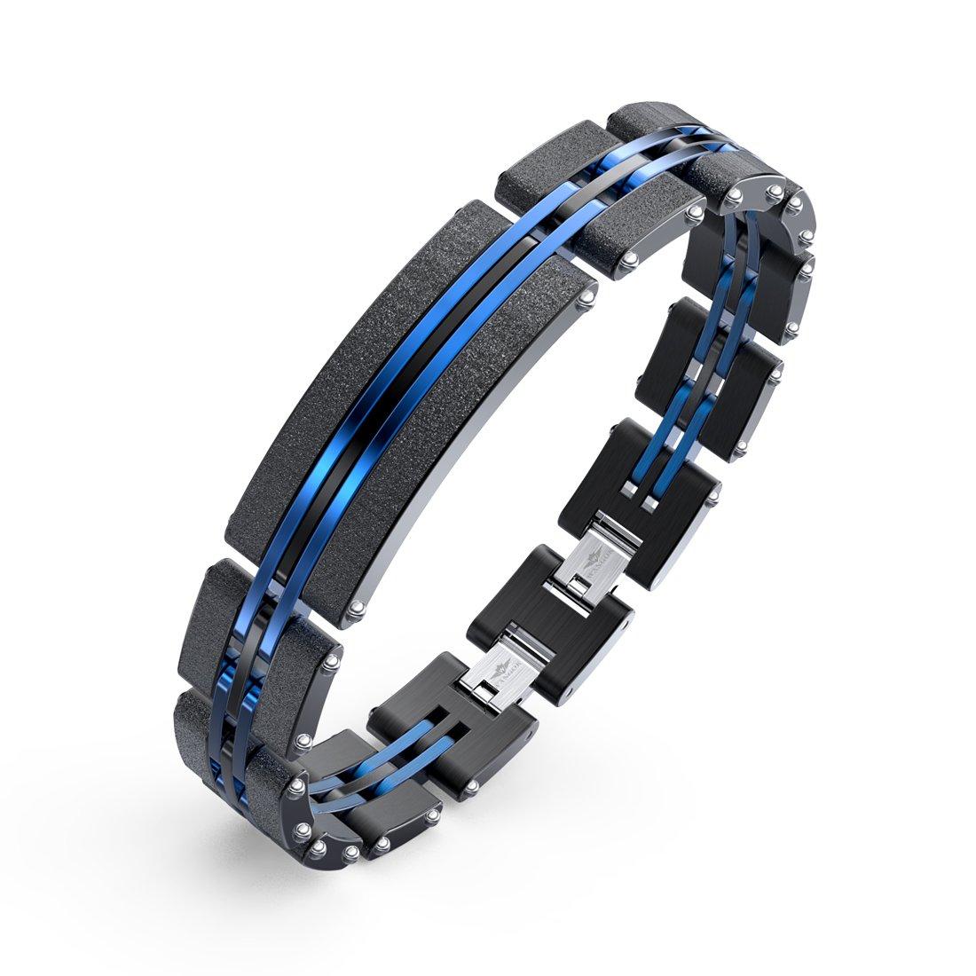 Herren Armbänder Edelstahl Blaue Schwarze Justierbare Armband 19-23 cm Armbänder für Männer mit Mode Sandstrahlen mit Geschenk Kasten WANGOK JEWELRY SSB-66