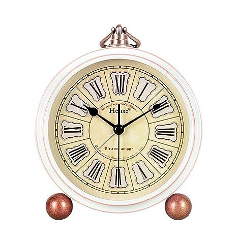 LTOOD Europeo Retro Creativo Reloj de Alarma Estudiante Mudo Reloj ...