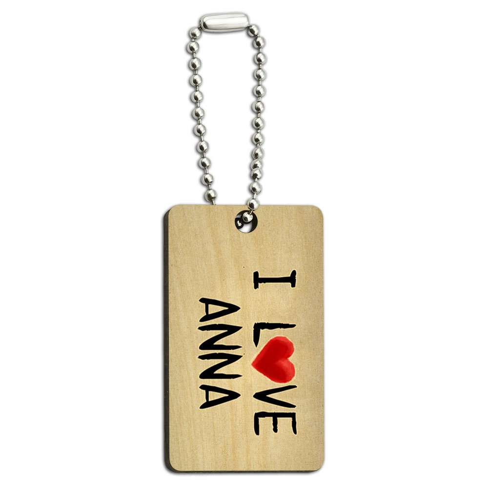 I Love Anna Written on Paper Wood Wooden Rectangle Key Chain