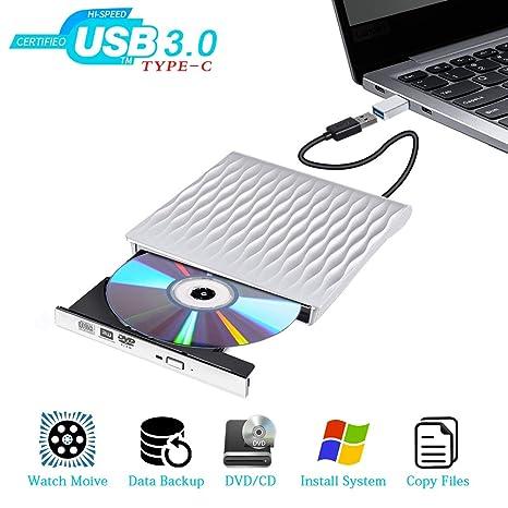 Lector CD Externo USB 3.0 DVD Externa Portátil Tipo-C Puerto Dual Grabadora DVD Externa