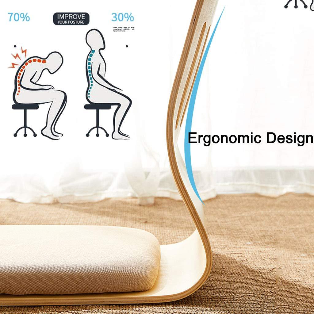 Tocadores Legless stol böjd trästol naturligt trä laminerad plywood bomull och linne tyg andas bekvämt och stapelbart, max belastning 100 kg naturlig färg nr 1