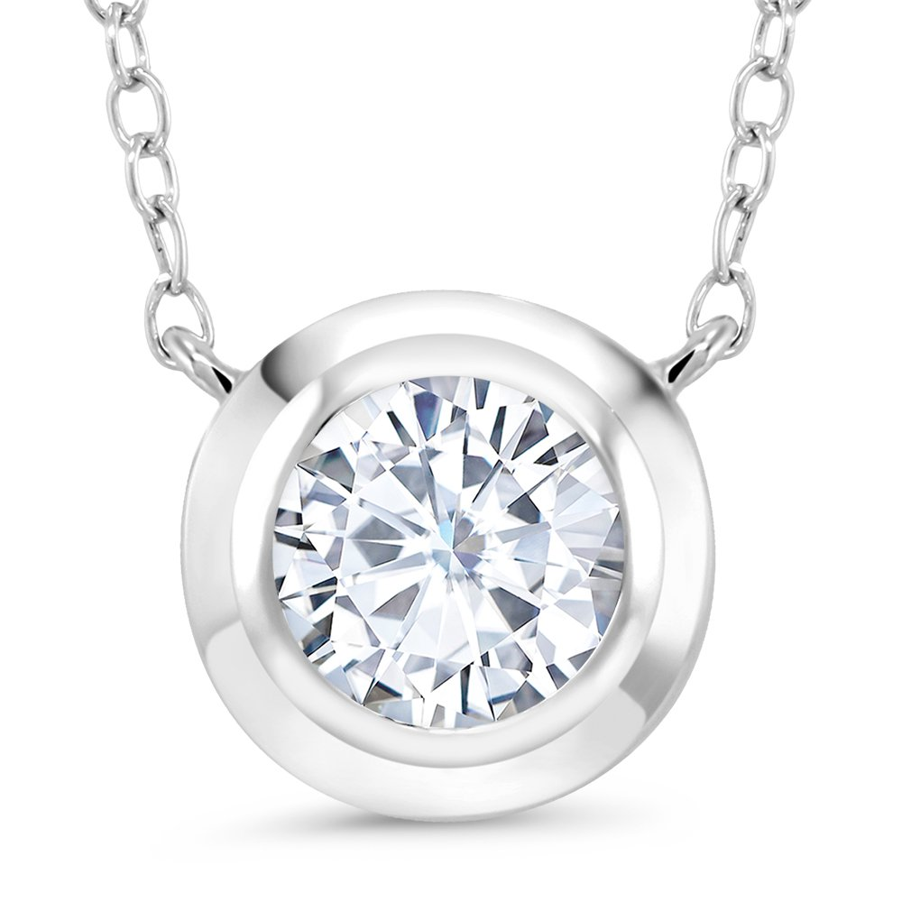 1.10 Ct Round 7.5mm White Created Moissanite 925 Sterling Silver Pendant With 18'' Chain