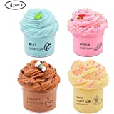 Cutiecute 4 Pack Butter Slime Kit, with Lemon Slime, Coffee Slime, Mint Slime and Watermelon Slime, Super Soft & Non-Sticky, Birthday Gifts for Girls and Boys (4 Pack 100ml*4)