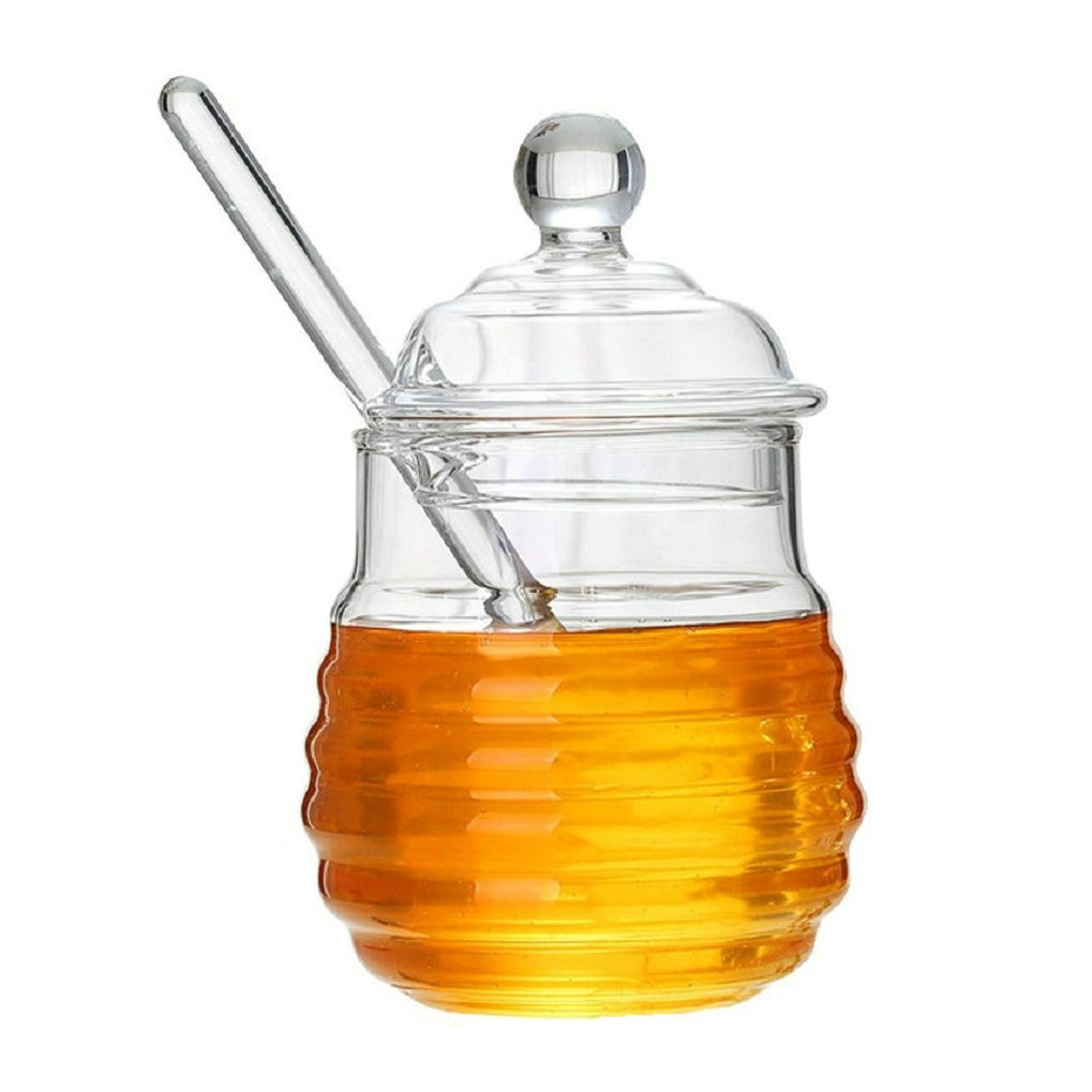 GuDoQi Glass Honey Pot with Dipper Syrup Jar Container for Food Storage QBY