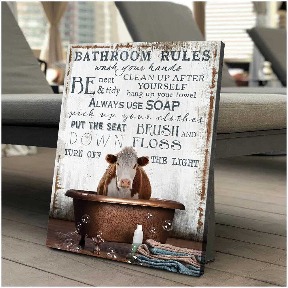 Ohcanvas Hereford Cow in the bathtub on Vintage Rustic Wood Bathroom Rules Farm Farmhouse Wall Art Decor 1.5 Inch Frame Canvas Art Gifts For Christmas, Birthday, Valentine's Day, Thanksgiving, Canvas Home Decor, Canvas Office Decor (16 in x 24 in)