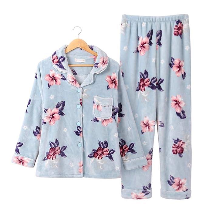 Conjunto De Pijama Estampado De Lujo para Mujer Supersoft Polar, Flores Cálidas, Camisón Pijama