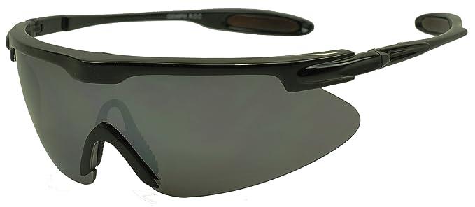 d54ae02eeac Mens Sport Full Shield Color Mirrored Lens Wrap Around Sunglasses (Black)