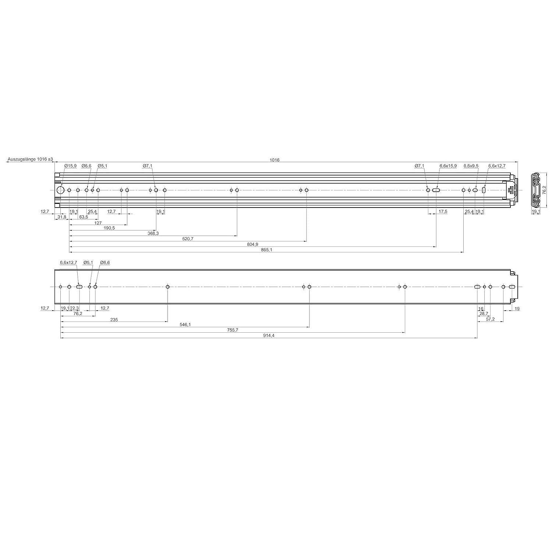 20 belastbar bis 250 Kg Teleskopauszug Vollausz/üge von JUNKER 1 Paar Schwerlastausz/üge KV1250H76NF 508 mm