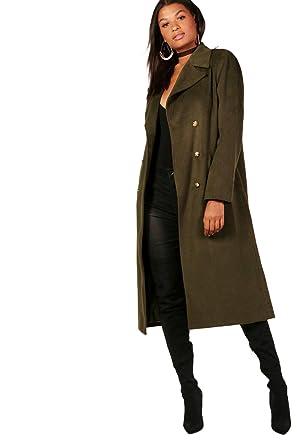 brand new 9e02f 15157 Khaki Damen Maisie Zweireihiger Military-mantel - 12: Amazon ...