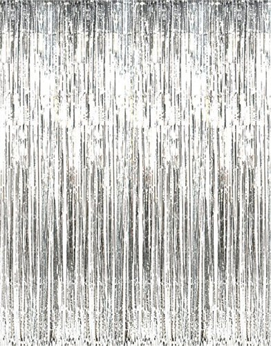 GiftExpress 1-Pack Silver Foil Fringe Curtain for Party Backdrop/Party Photo Booth Backdrop/Silver Fringe Backdrop -