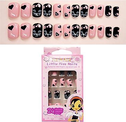 Minkissy unghie finte multi pattern per bambini stampa colorata sulle unghie kit completo per unghie finte corte ottimo regalo di natale per bambine