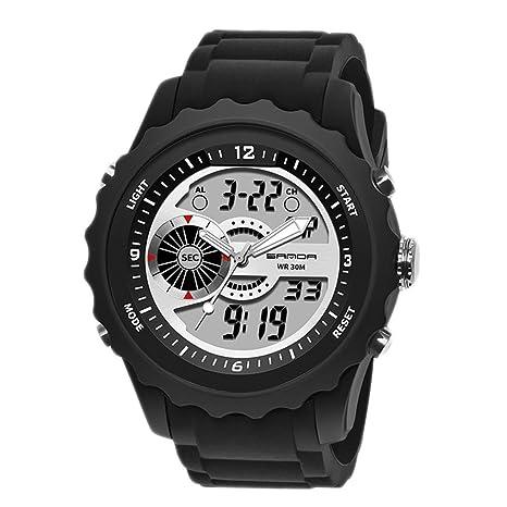 Sanda Reloj Inteligente Impermeable, Relojes Inteligentes para los Hombres, Reloj Inteligente Digital de Cuarzo