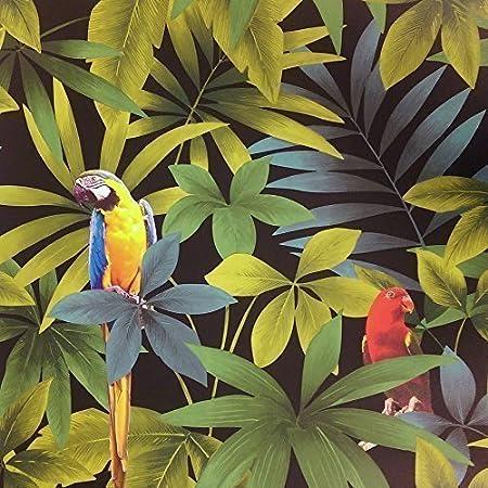 Direct Rainforest Jungle Songbird Parrot Motif Leaf Pattern Wallpaper J86404 By