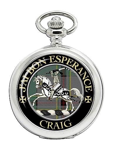 Lema de Craig (francés) Clan Escocés Escudo Full Hunter reloj de bolsillo: Amazon.es: Relojes