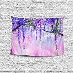 InterestPrint-Watercolor-Wisteria-Spring-Purple-Flowers-Painting-Wall-Hanging-Tapestry-Art-Home-Decorations-for-Living-Room-Bedroom-Dorm-Decor-60W-X-40L-Inch
