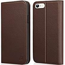 iPhone 6S Wallet Case iPhone 6 Wallet case ZOVER Genuine Leather Flip Folio Book Case with Kickstand Feature Card Slots & ID Holder and Magnetic Closure for iPhone 6 and iPhone 6S Dark Brown