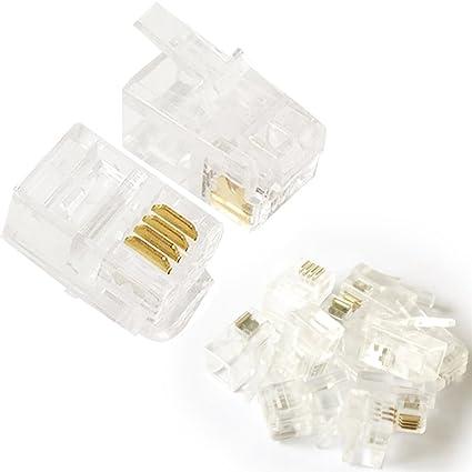amazon com 10x rj9 rj10 rj22 cable crimp connector plugs 4p4c RJ11 Connector Pinout image unavailable