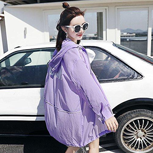 QFFL fangshaifu 夏のルーズロングセクションサンプロテクションウェア/女性ファッションシンコート/アンチシワ通気性日焼け止めショール/アウトアウトUVカットカーディガン (色 : C, サイズ さいず : L l)