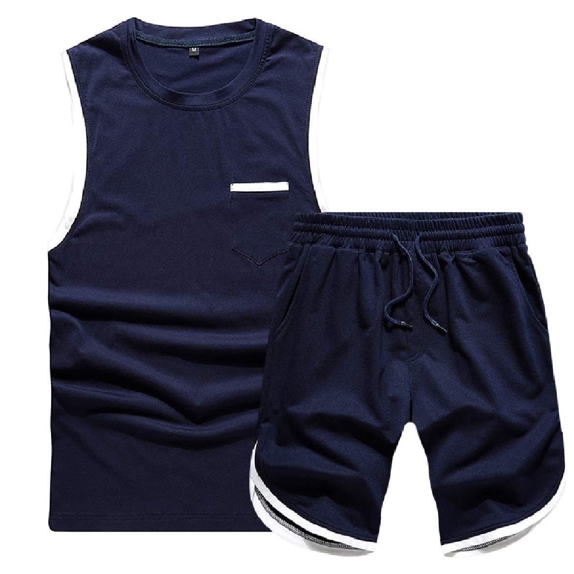 HEFASDM Mens Pure Colour Summer Tanks Oversize Sweatsuit Pants Set