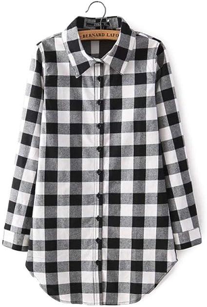 cokil Moda Mujer Camisa a Cuadros BF Estilo Casual Camisa de Manga Larga Blusas y Camisas: Amazon.es: Ropa y accesorios
